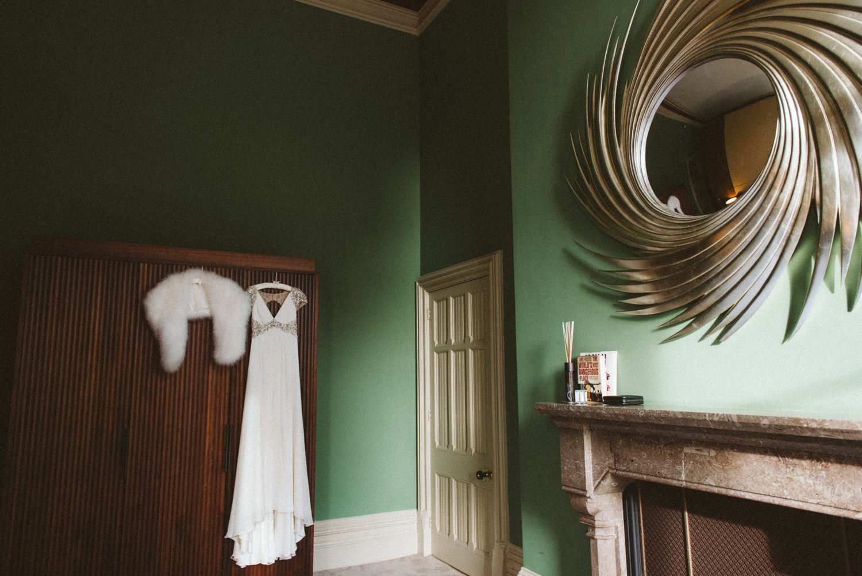 Jenny Packham bridal dress hanging London