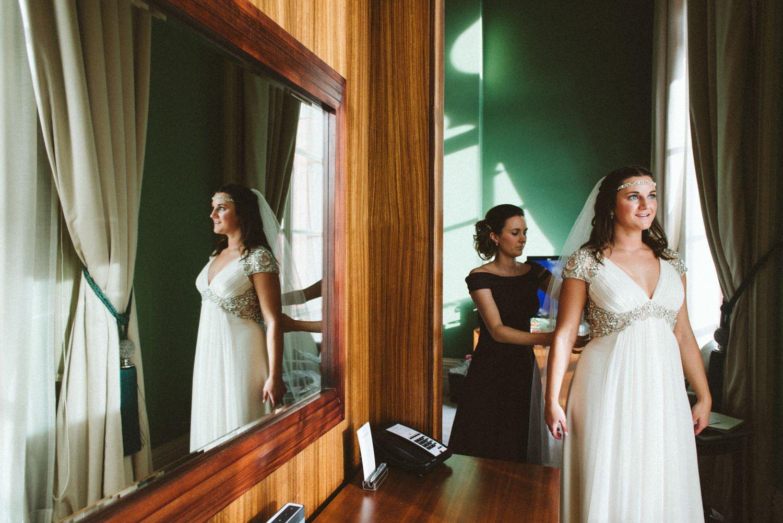 Jenny Packham bride pre-ceremony London