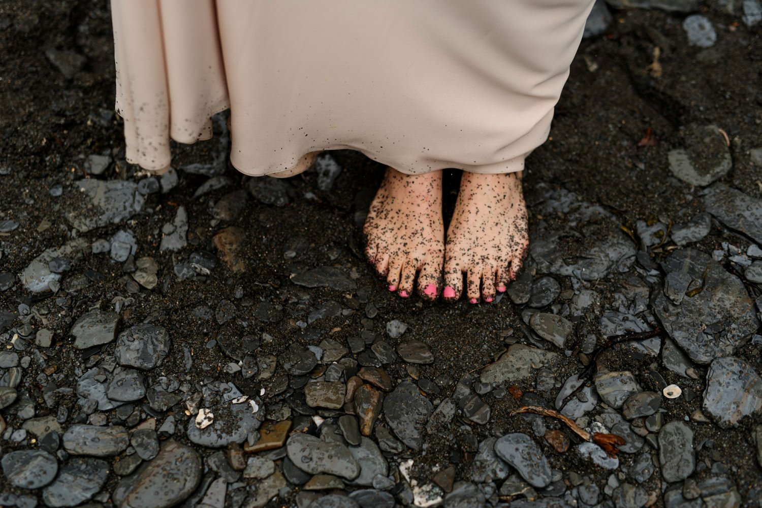 Rainy muddy bridal feet Tunnels beach Devon wedding