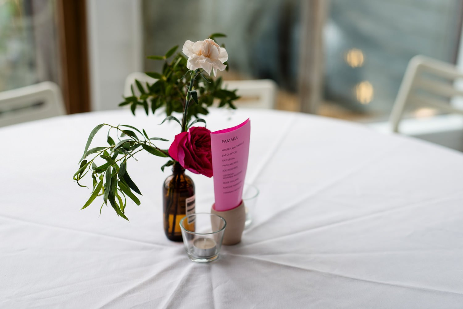 Simple colourful wedding table decoration Devon