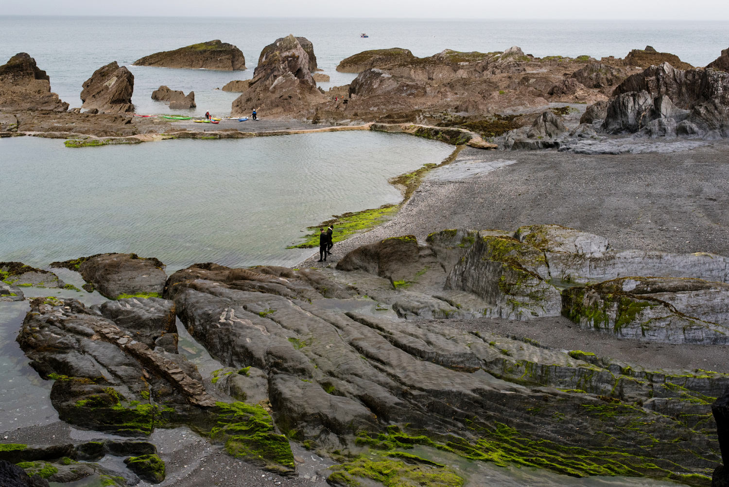 Tunnels Beach rock pools Devon wedding photography Babb Photo