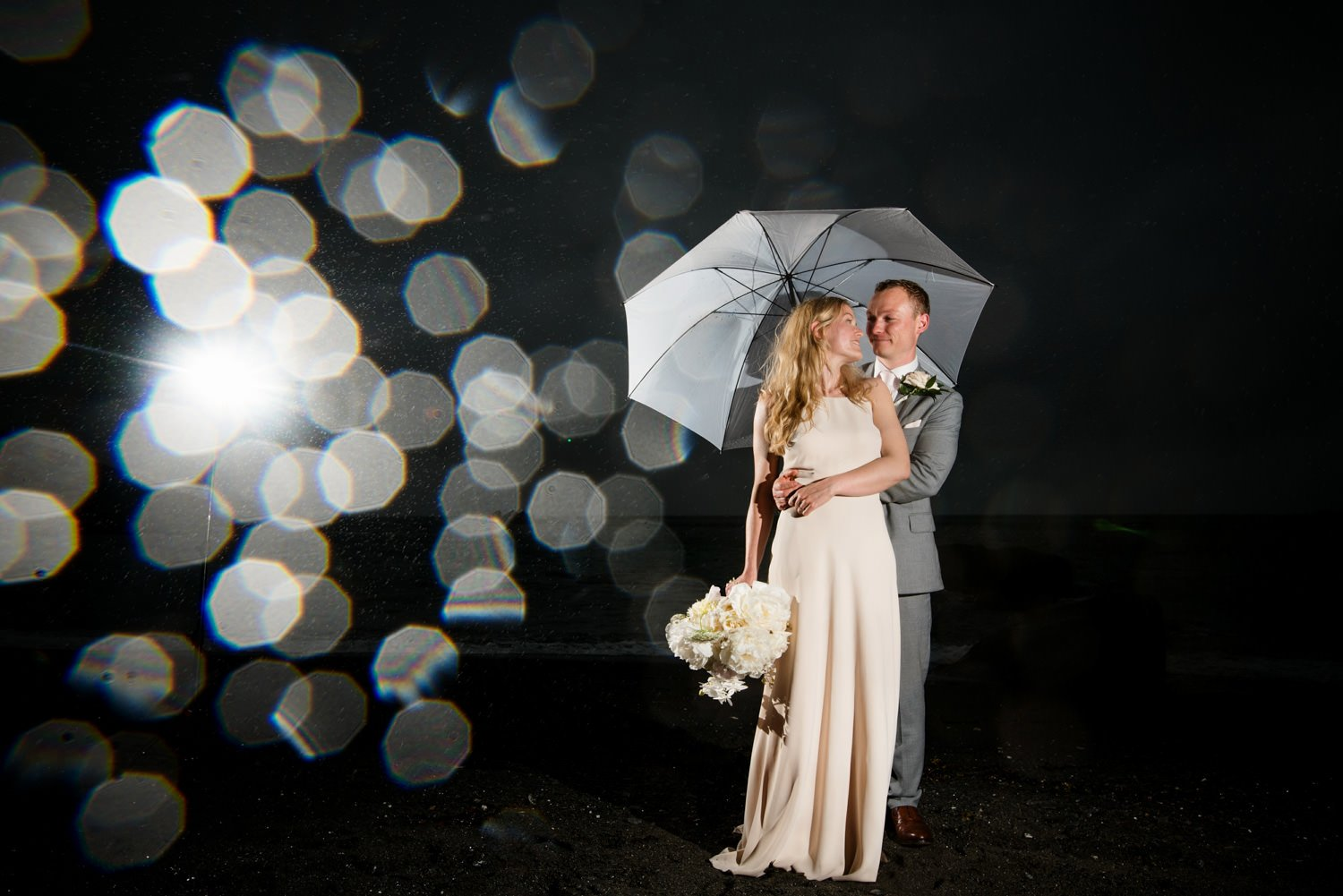 Creative rainy wedding portrait Devon Babb Photo