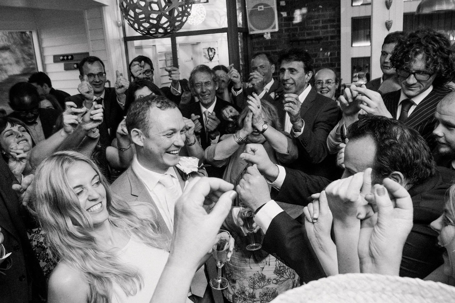 Jam packed Devon wedding dance floor Story telling wedding photography