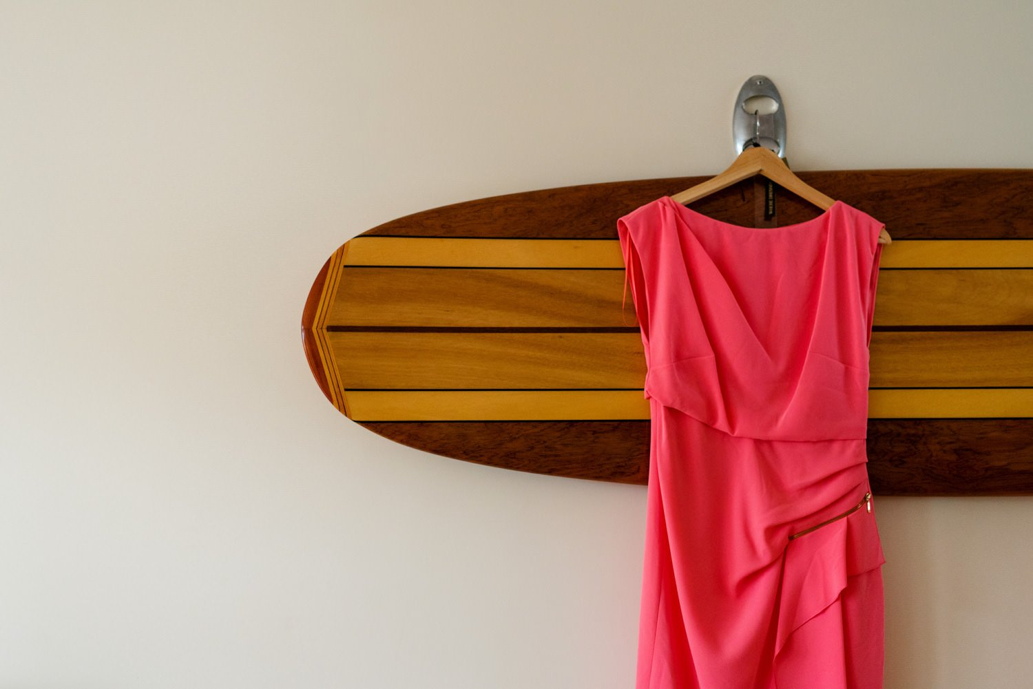 Hot pink hanging dress Tunnels Beaches Wedding Photographer Devon