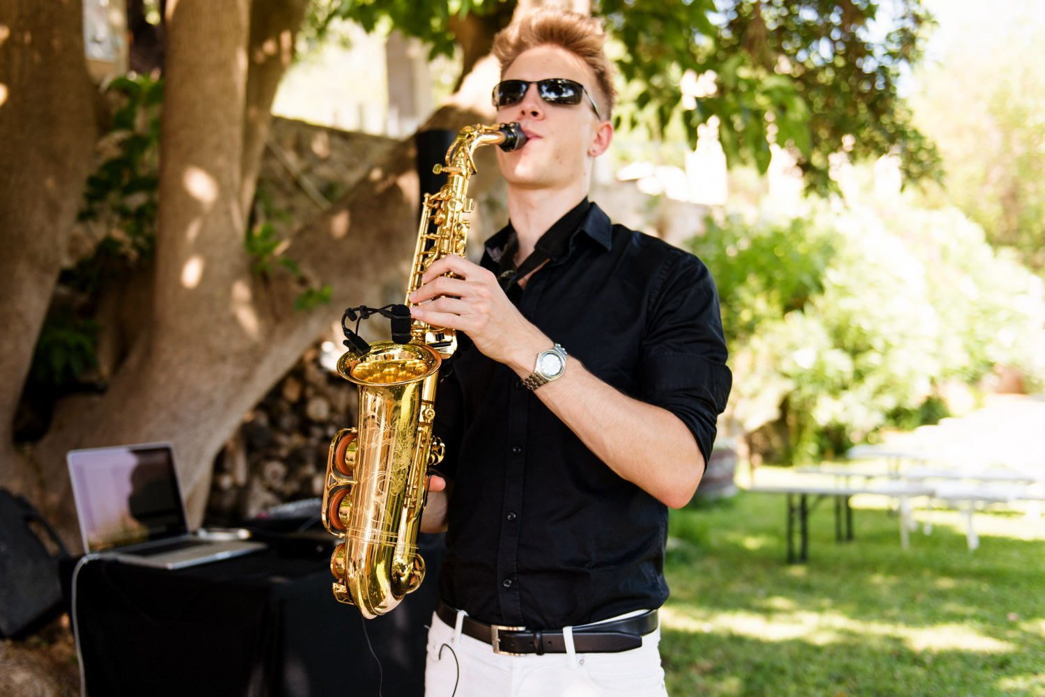 Dan Goode Saxophonist plays at Mallorca Destination Wedding