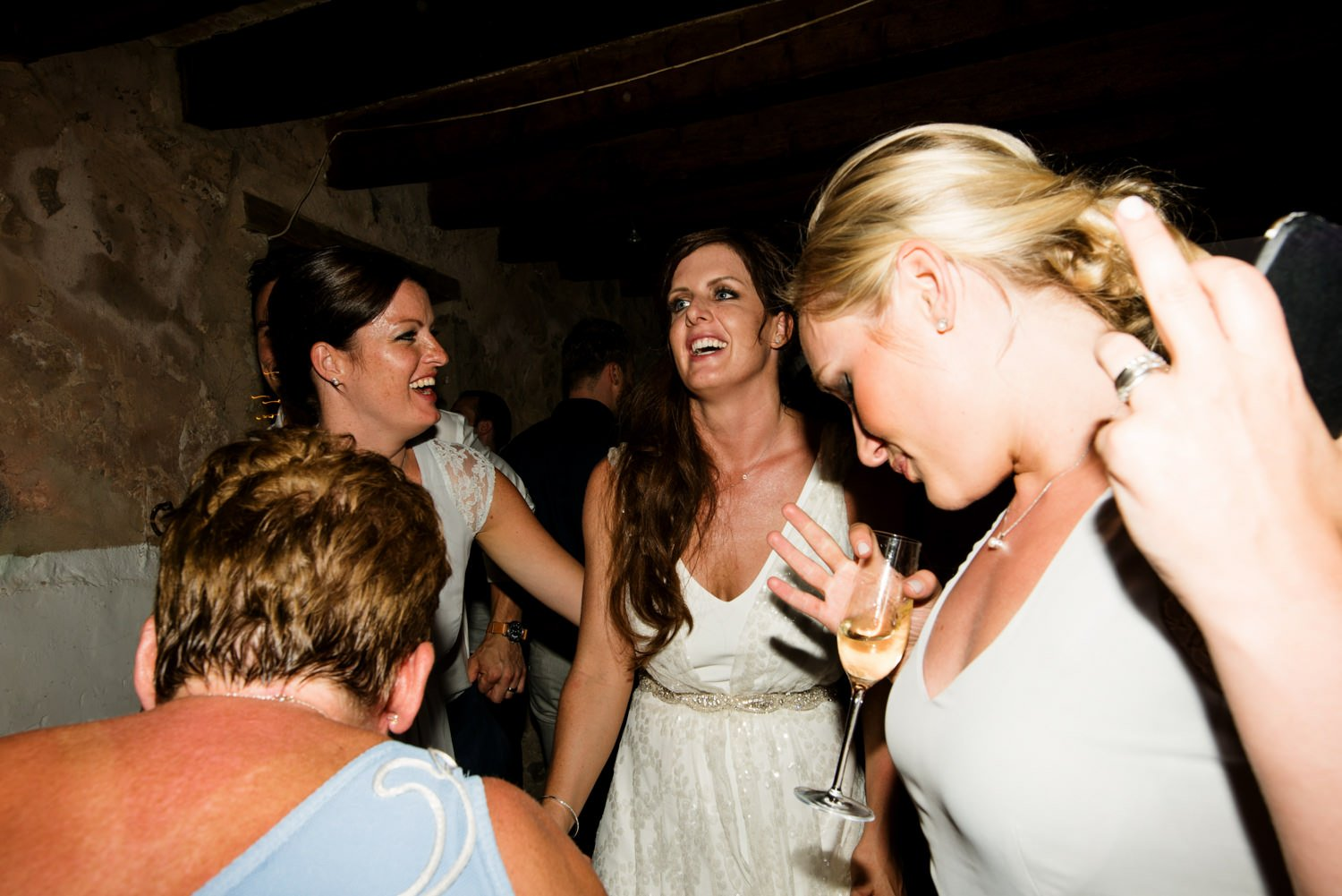 Charlie Brear bride with friends Destination Wedding Photography Mallorca