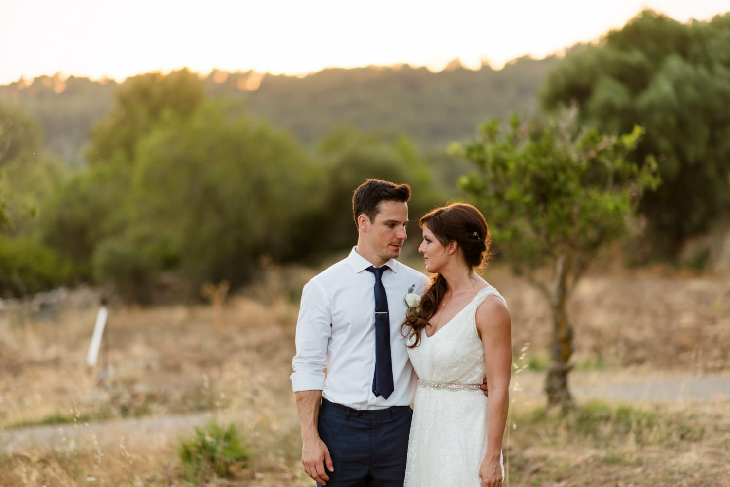 Rustic sunny Mallorca wedding portrait