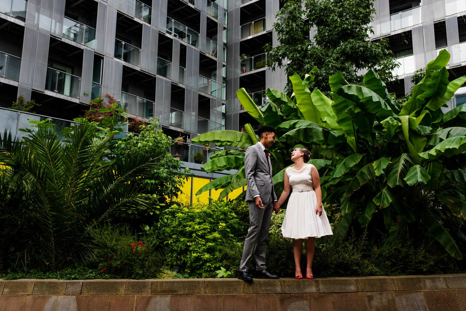 couple on london estate wedding photography portraits