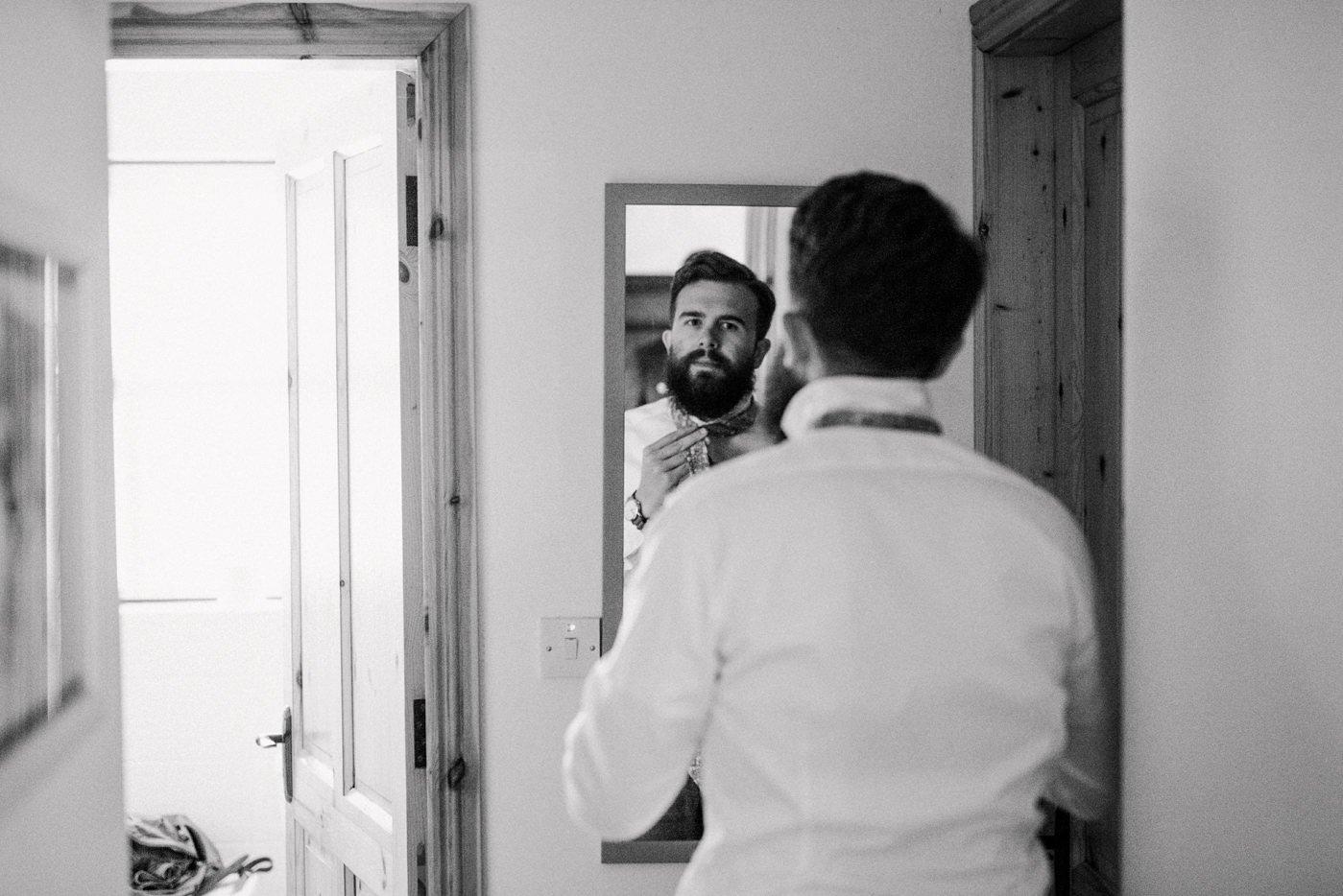 Groom preparing pre-wedding Documentary wedding photography Westcove House Ireland