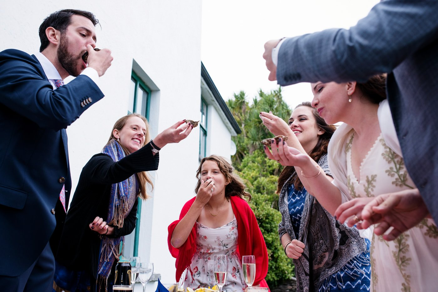 Oyster toast outdoor bohemian wedding Co Kerry Ireland