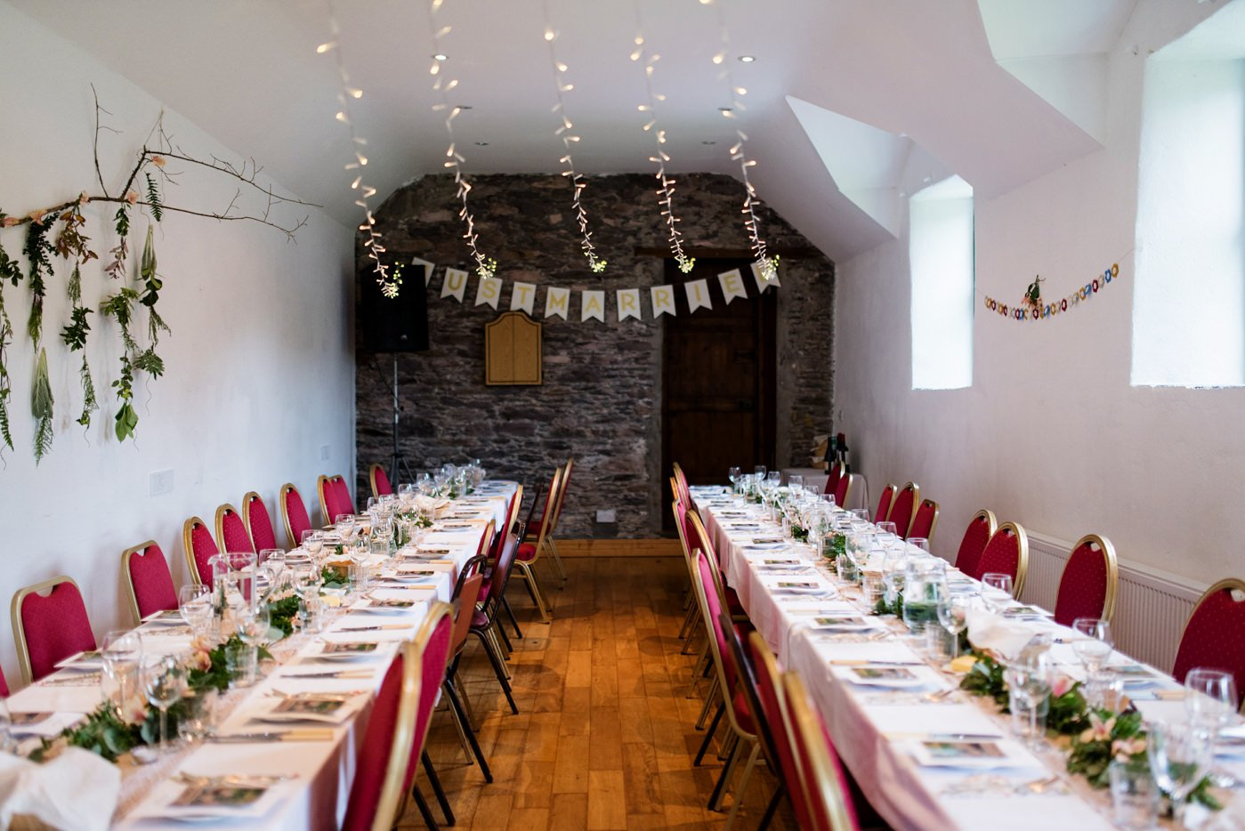 DIY homespun wedding decor Westcove House Co Kerry Ireland