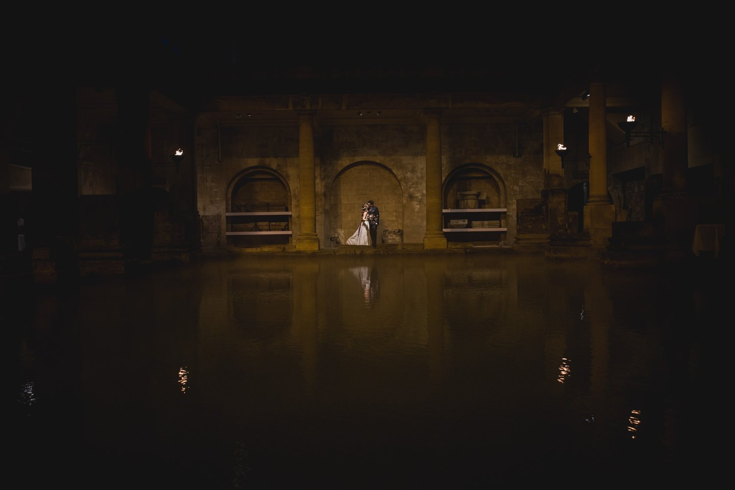 Atmospheric wedding portrait at Roman Baths Somerset