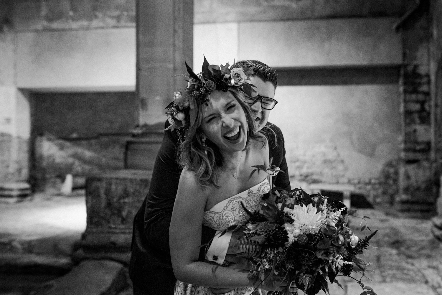Black and white couple portrait Roman Bath wedding photographer