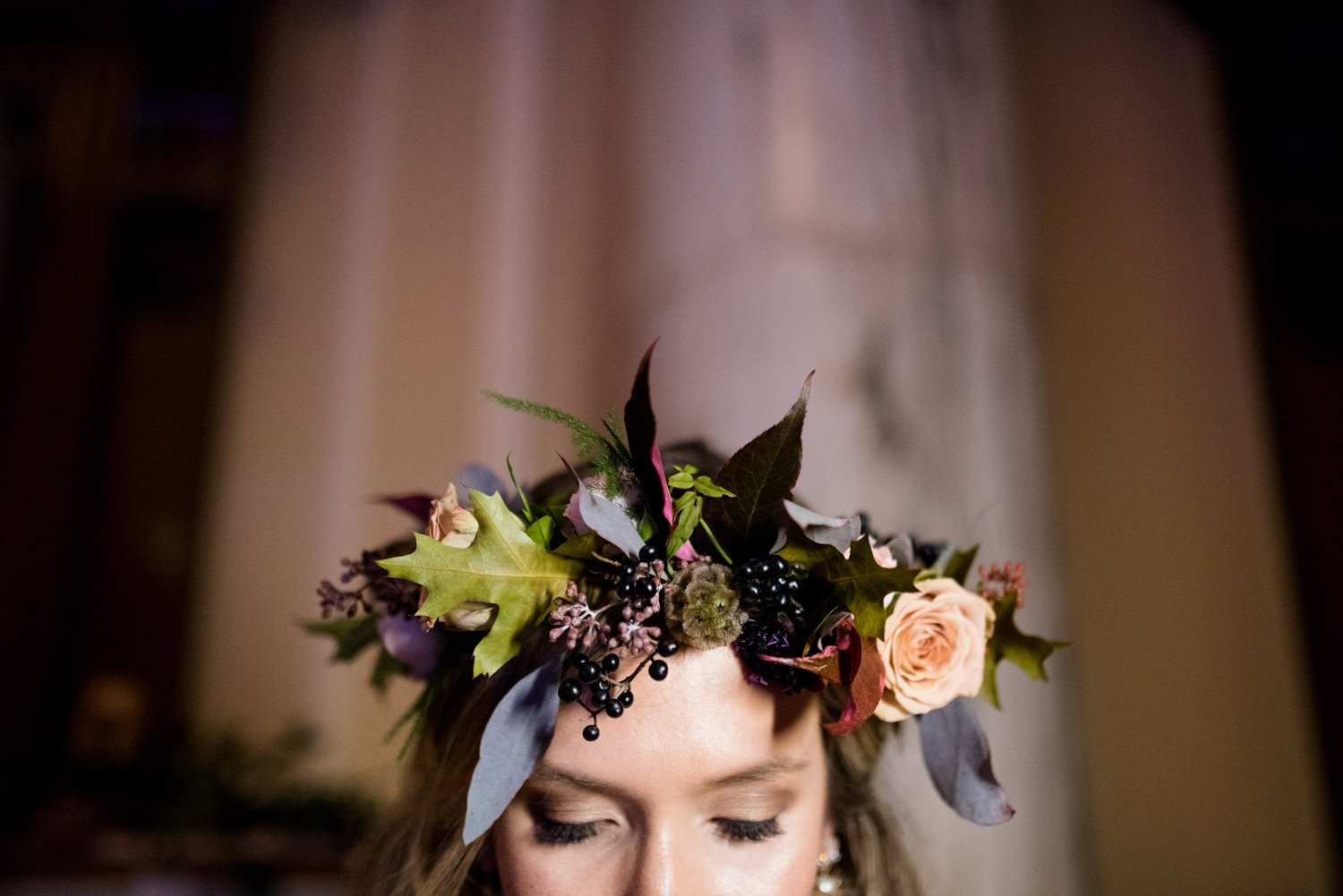 Bridal flower crown by Flowers by Passion Bath wedding
