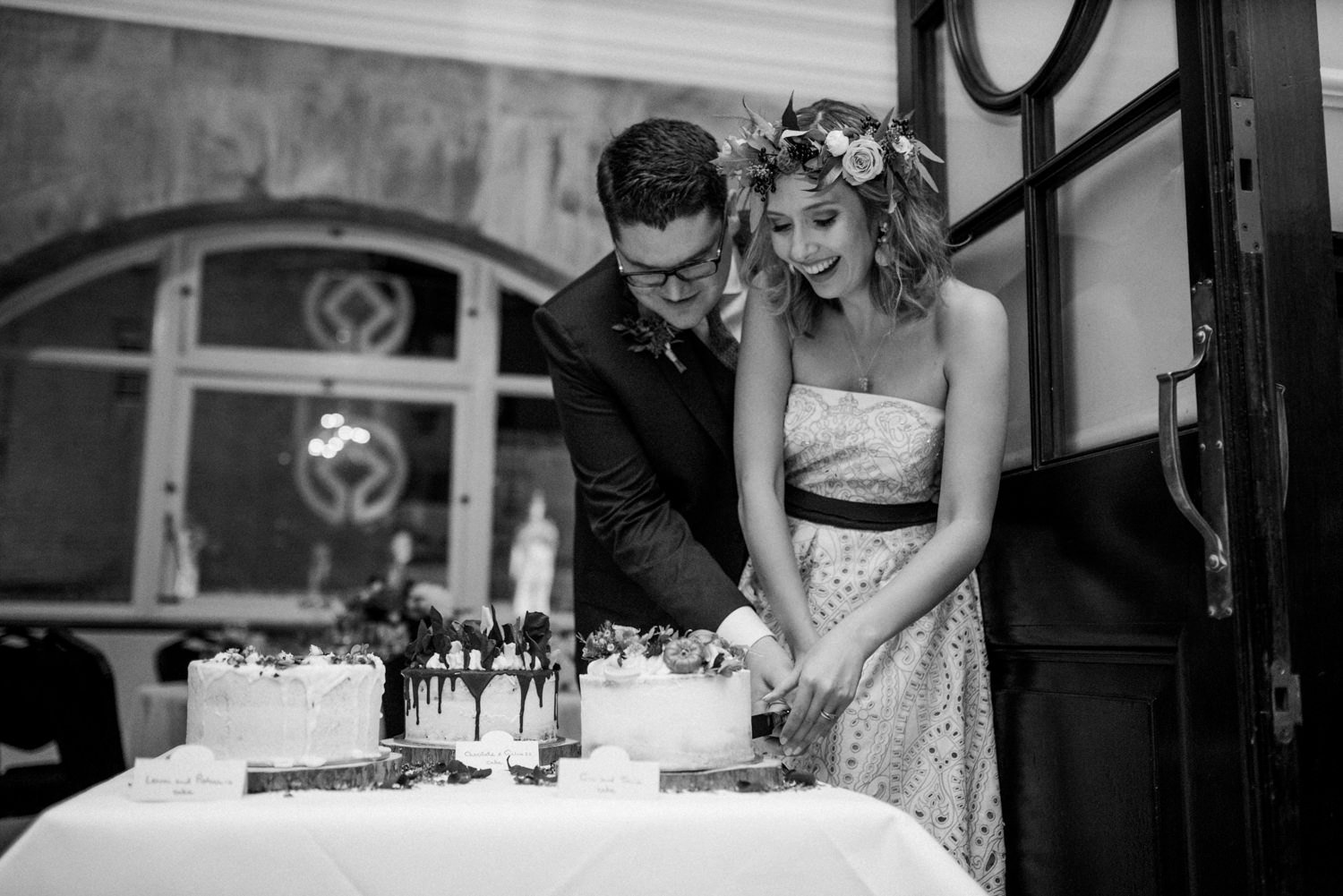 Cake cutting Roman Baths Wedding Photographer
