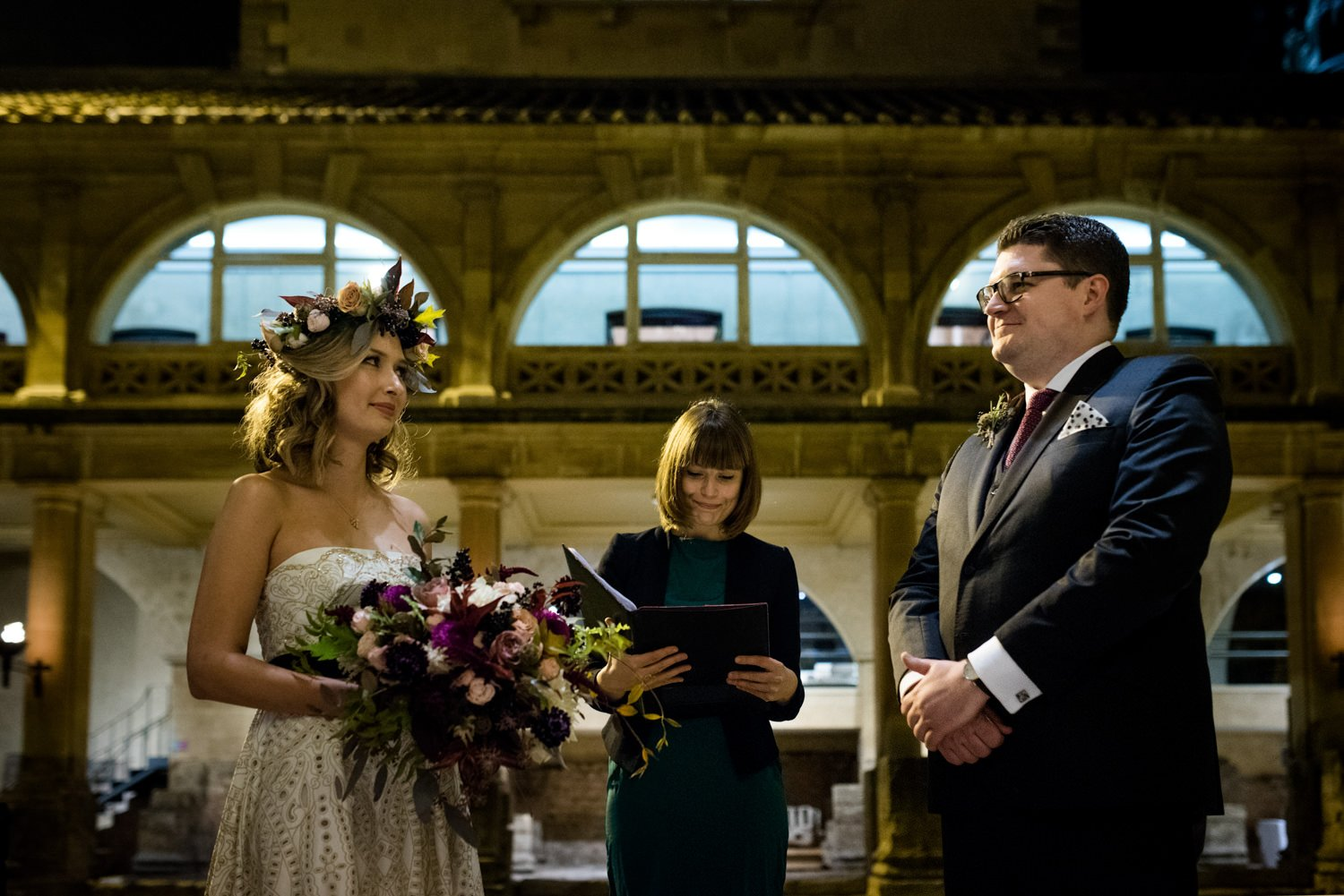 Authentic creative wedding ceremony at Roman Baths Somerset