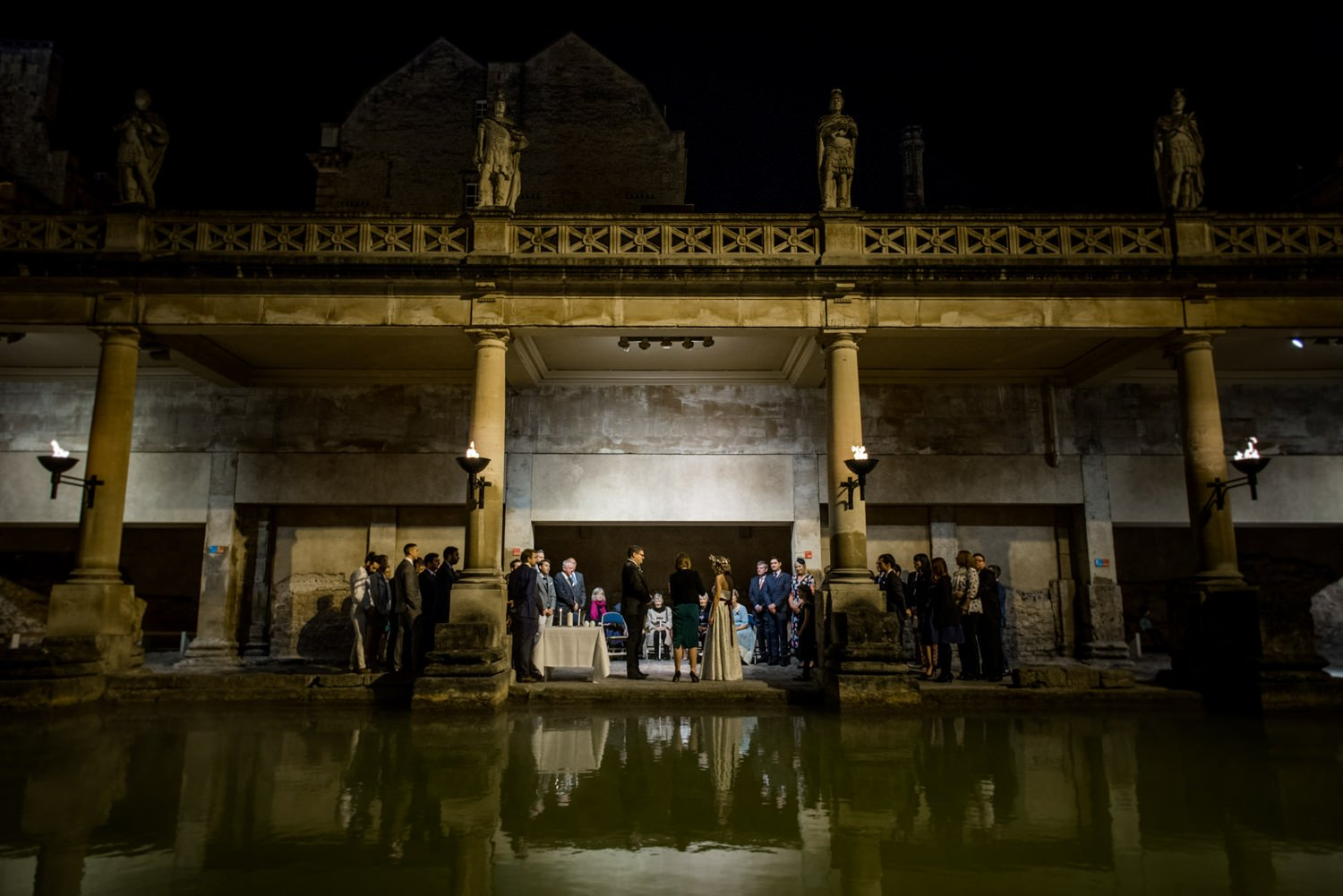 Alternative wedding photography at Roman Baths Somerset