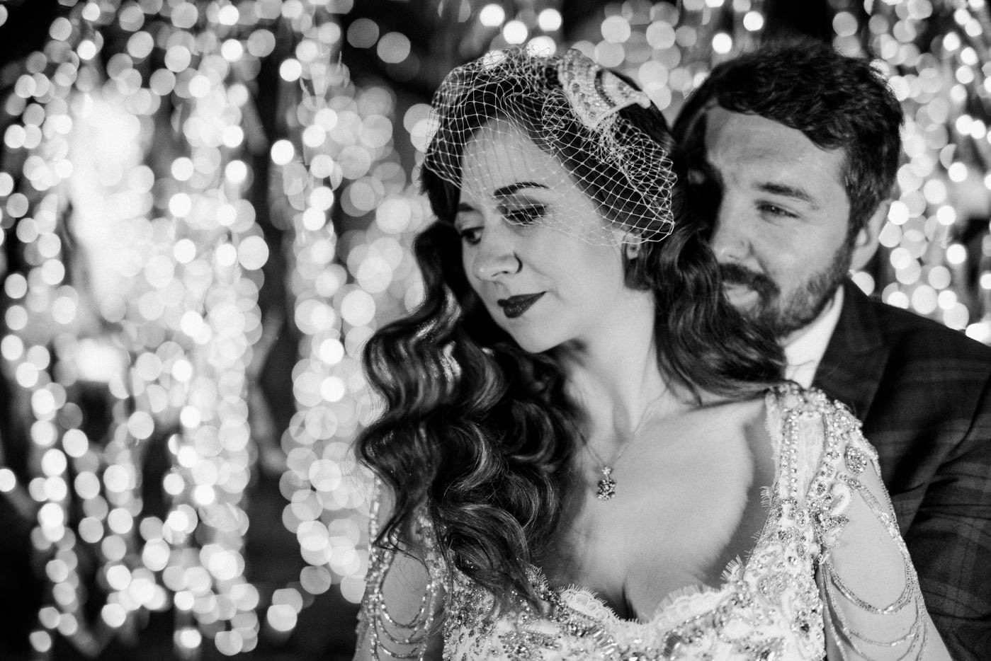 winter wedding photography black and white bride groom sparkling lights
