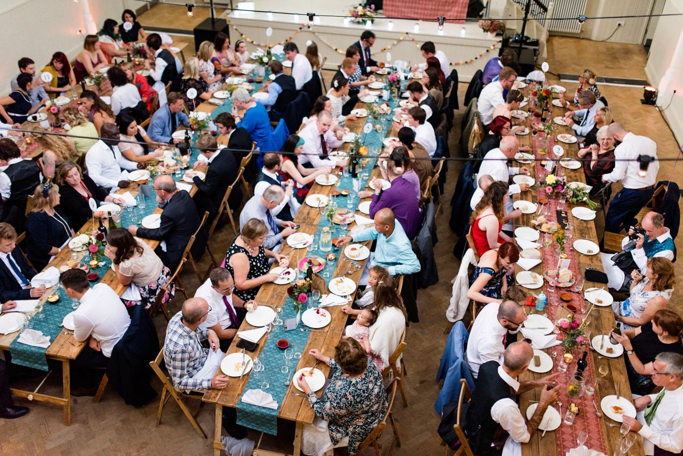 Guests eating dinner at Tab Venue wedding