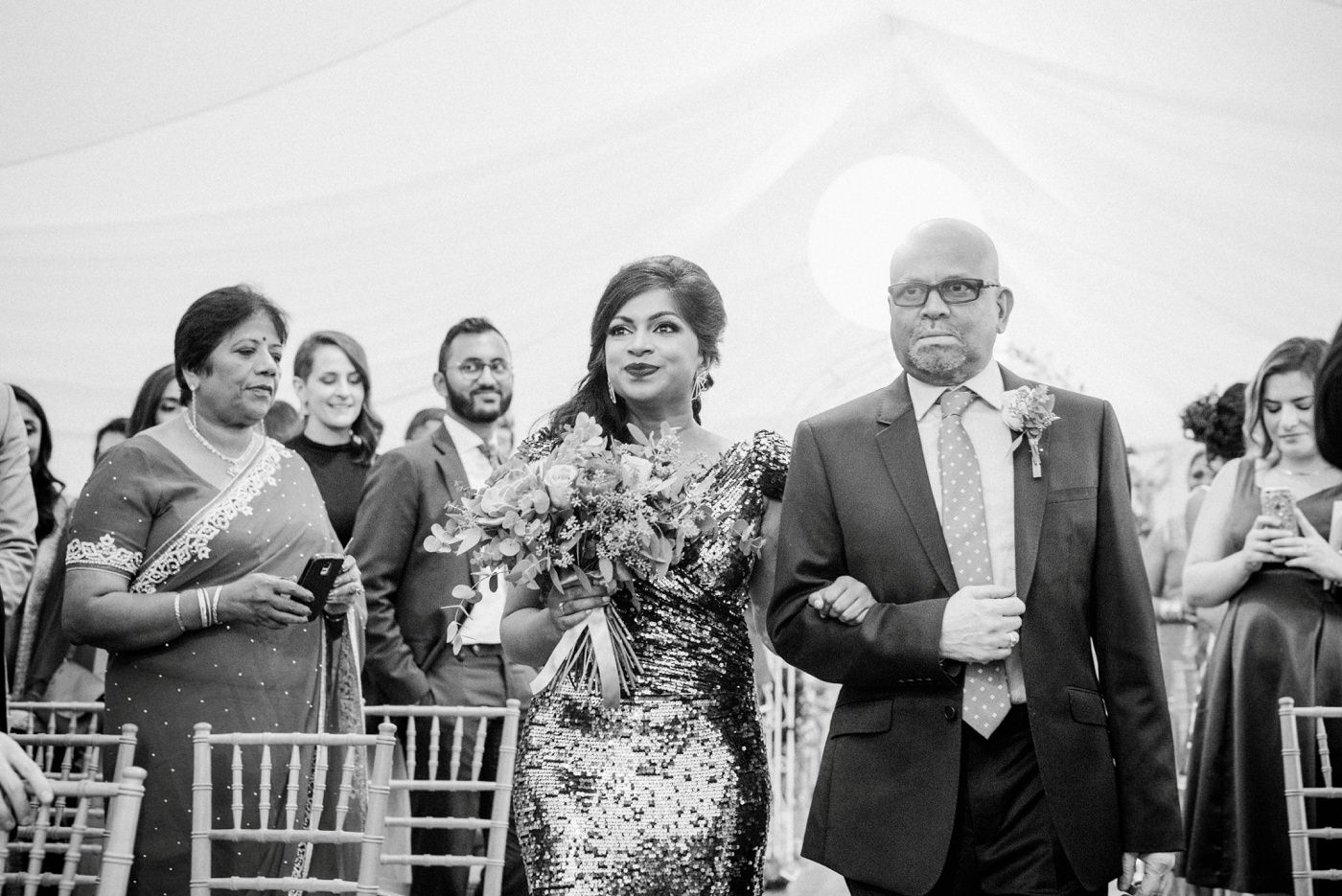 Indian bride with Father walk wedding aisle Surrey