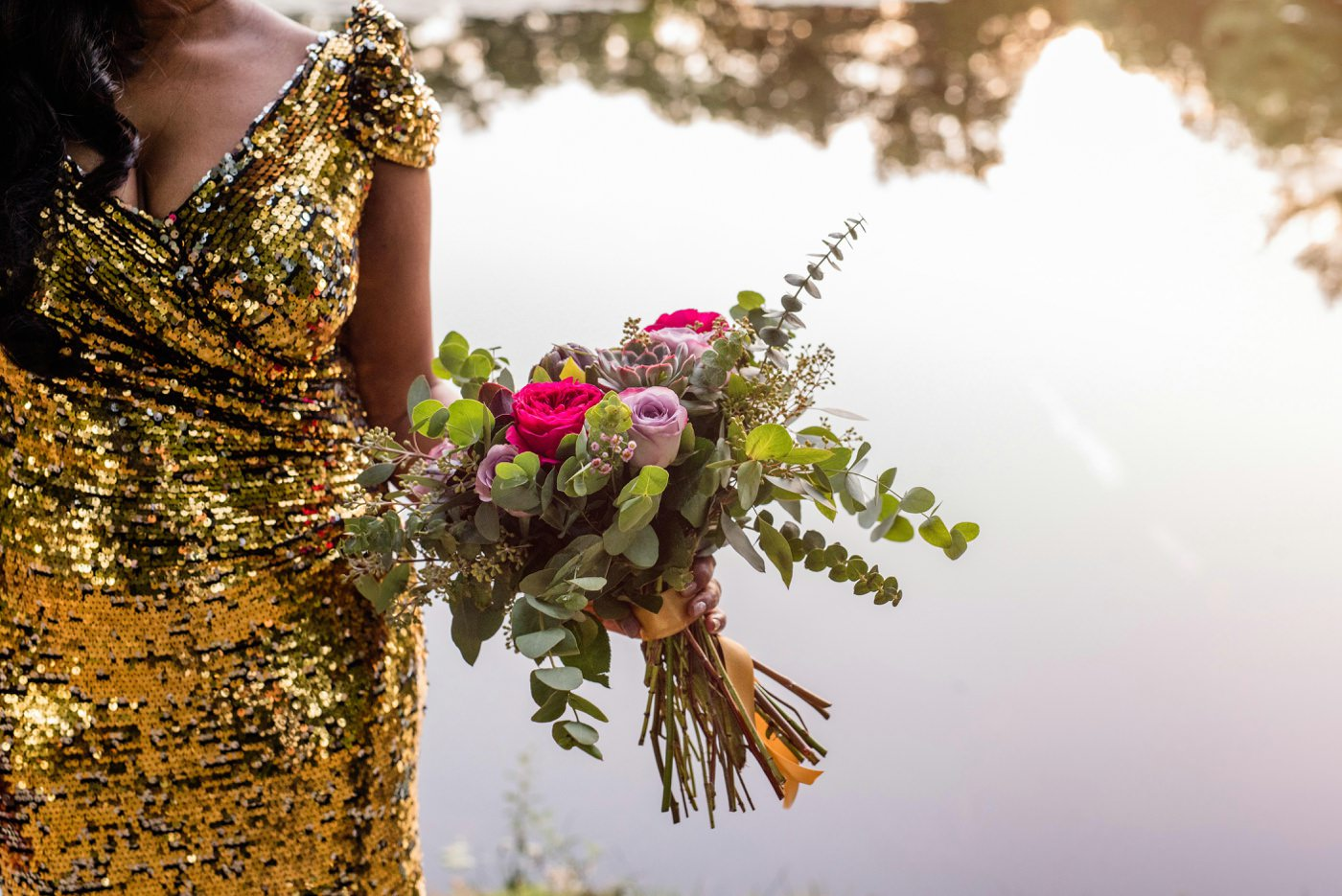 Golden bridal dress with The Flower Pocket bridal bouquet Painshill Park