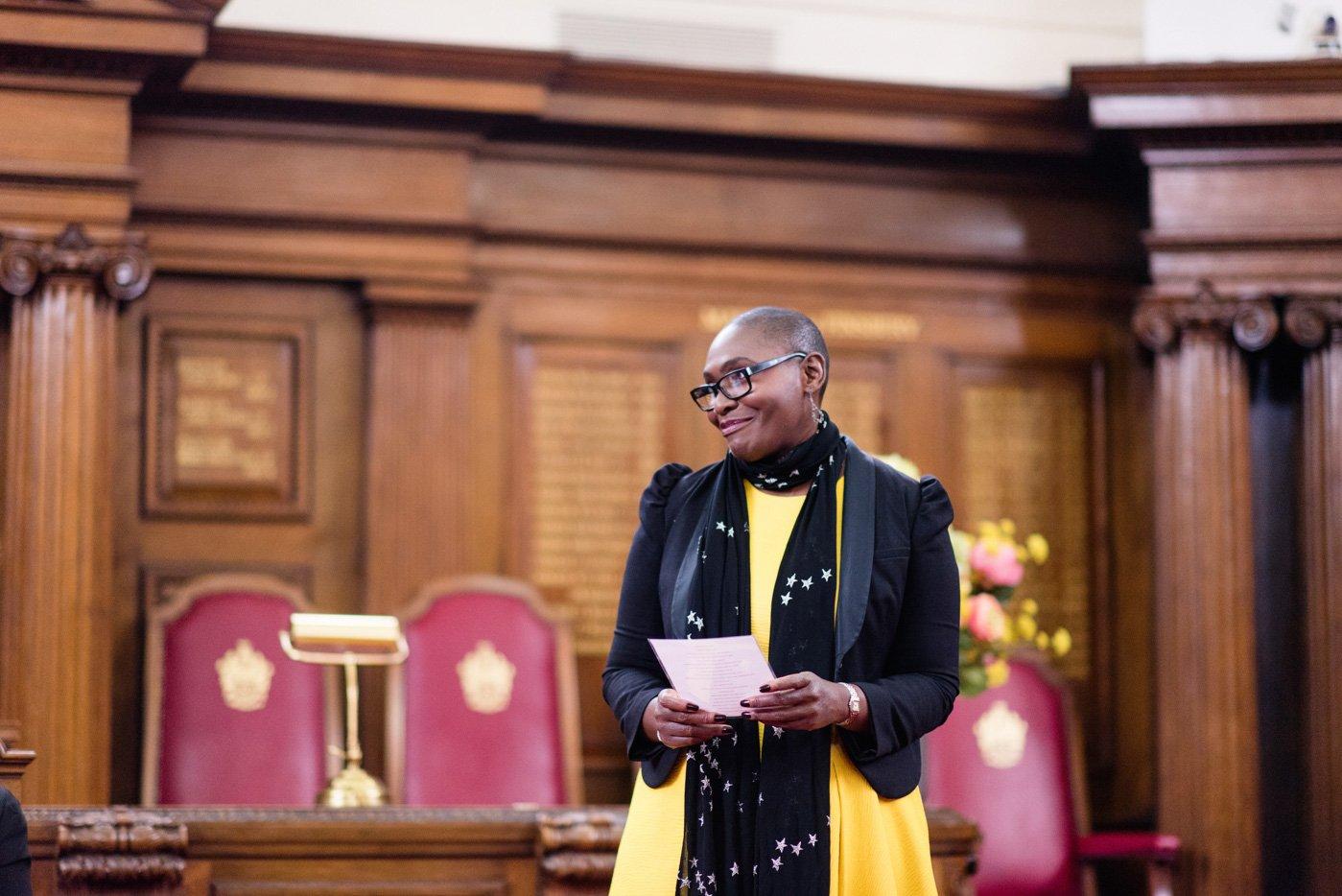 Mum delivers speech Islington Town Hall wedding London