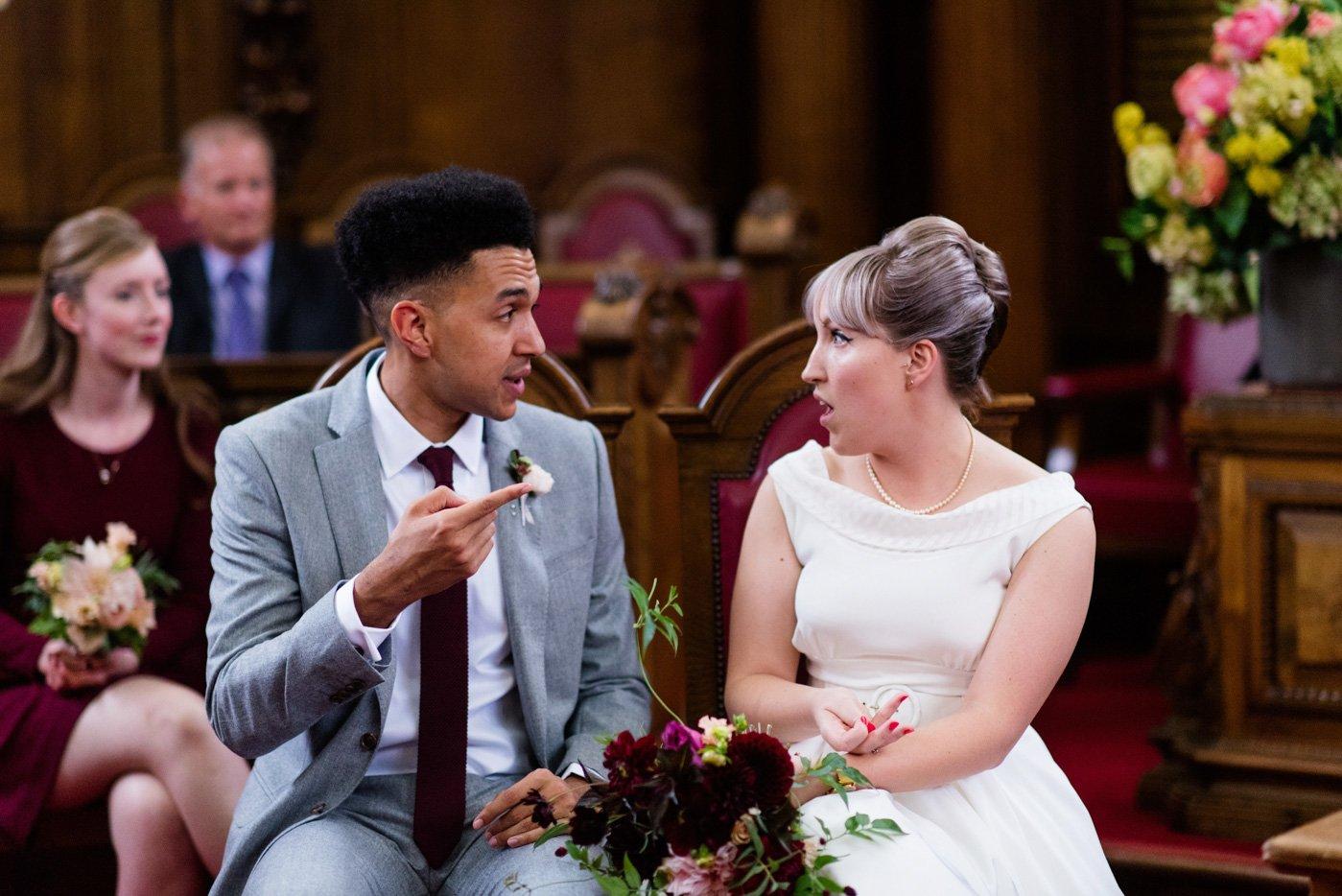 Alternative bride with groom Islington Town Hall wedding London