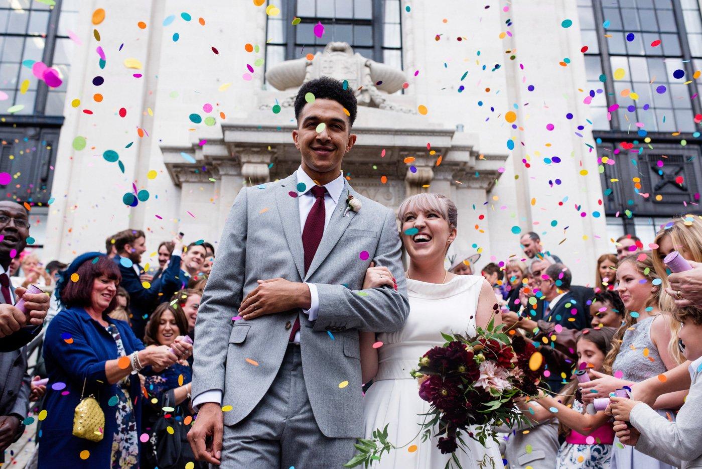 Colourful confetti wedding portrait London