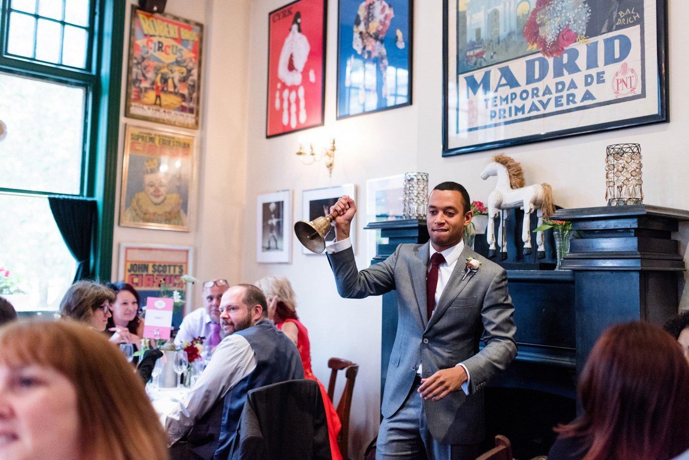 Suits Supply best man delivers speech London pub wedding