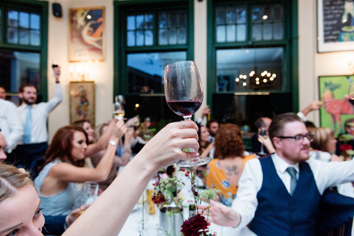 Wedding toast at The Peasant pub London wedding