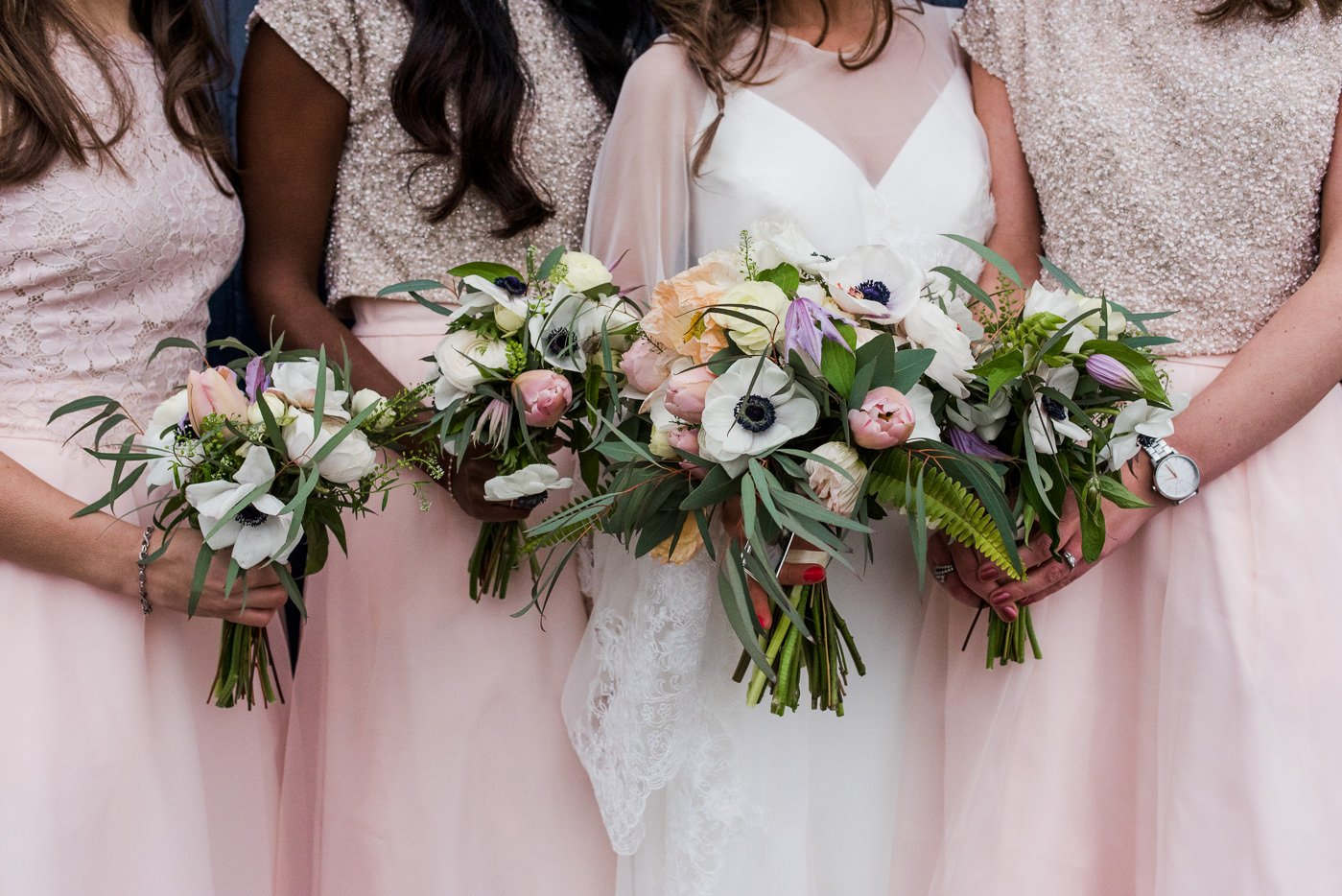 bridesmaids in pink and gold colourful warehouse wedding