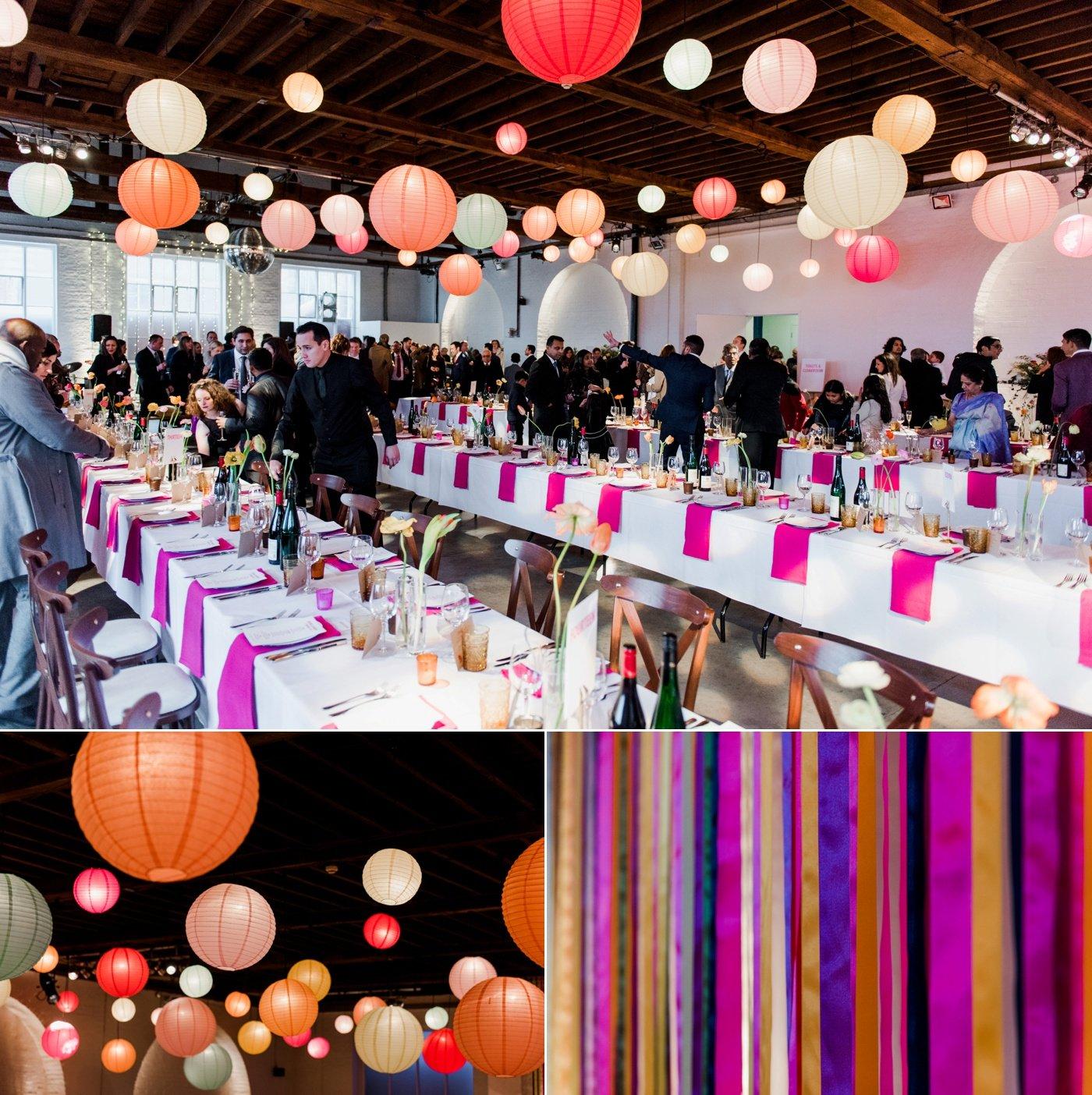 colour pops lanterns colourful warehouse wedding