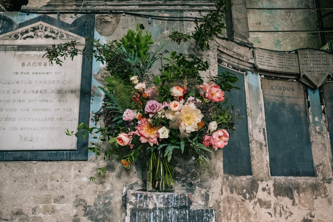 oversized alternative wedding flowers asylum peckham brockwell lido