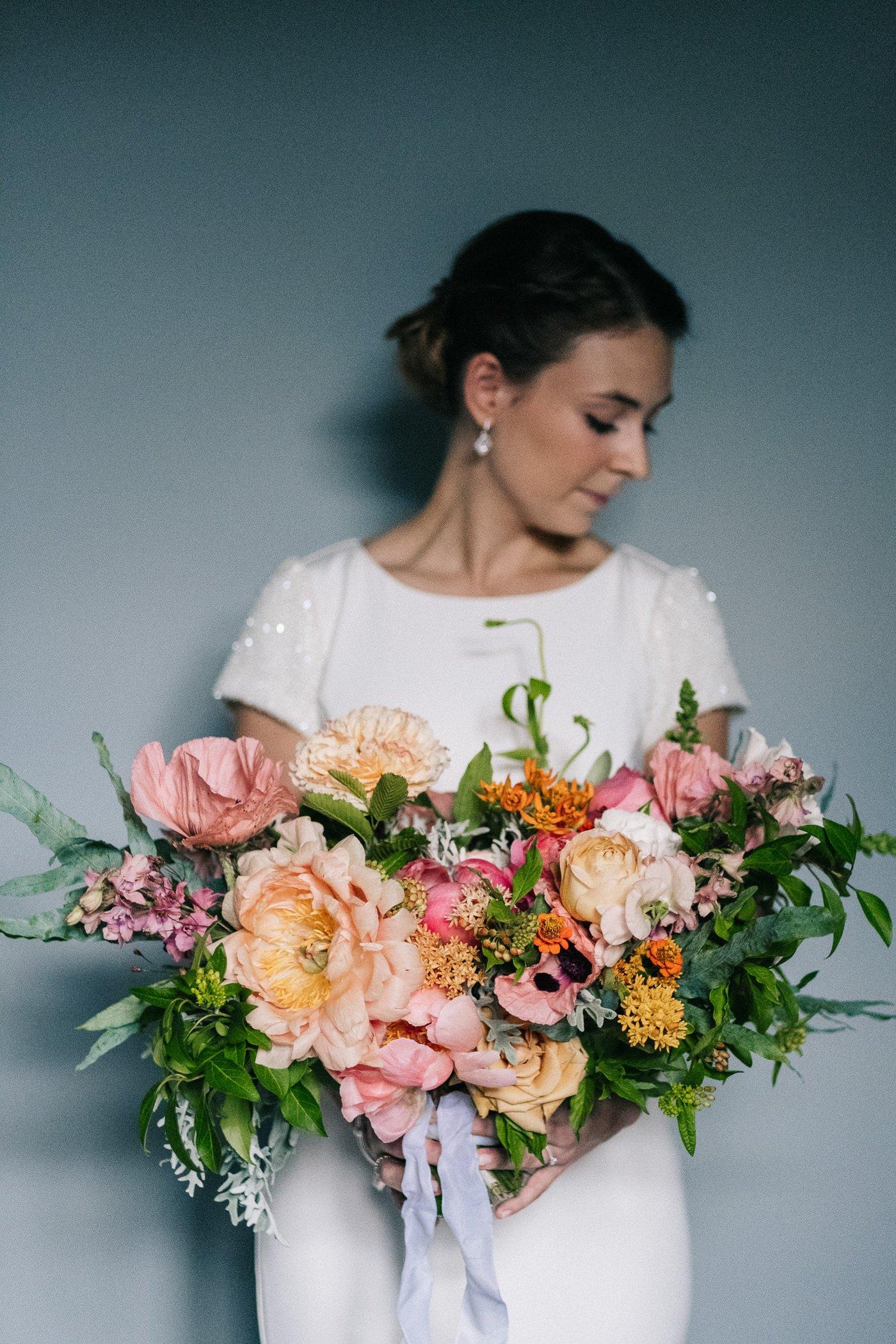 Alternative wedding Brockwell Lido palais flowers oversized bouquet