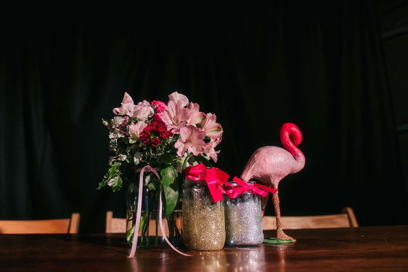 Flamingo wedding decor alternative rock venue wedding