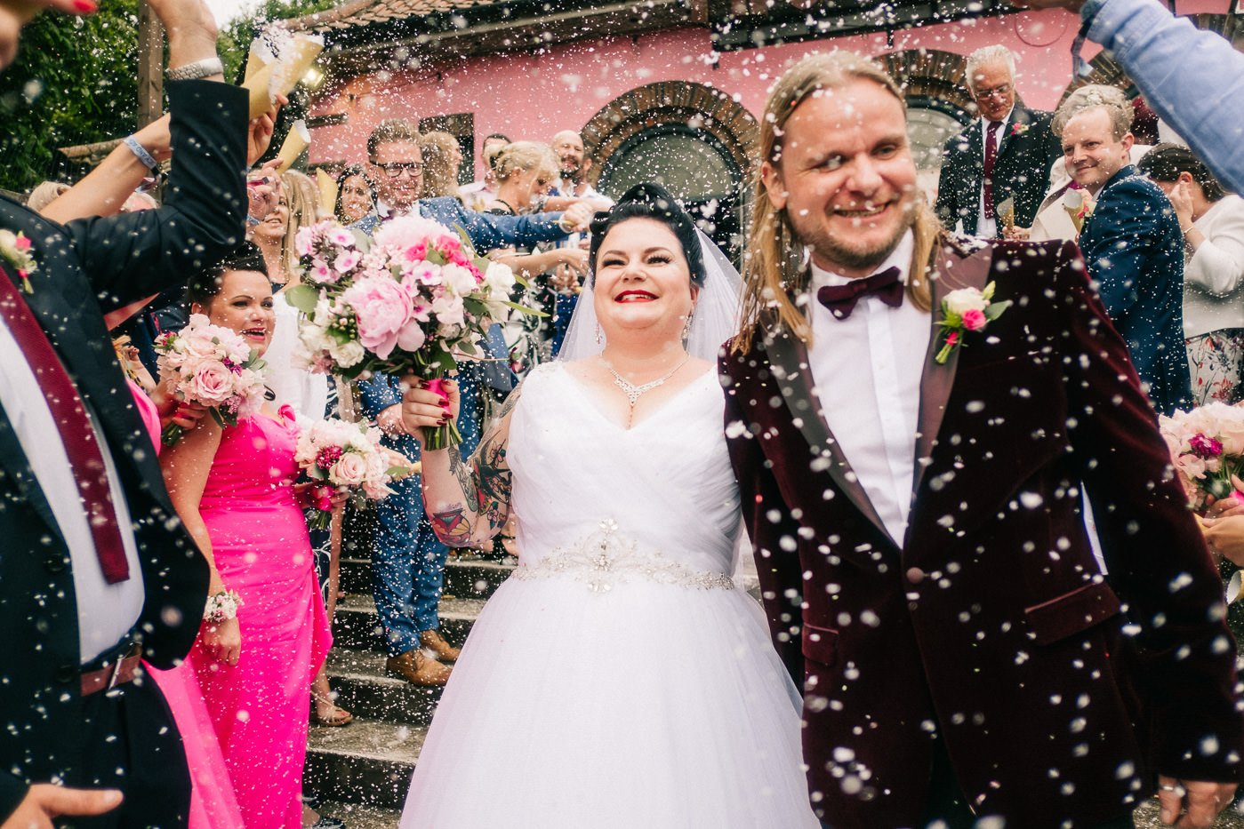 Snow confetti alternative rock venue wedding