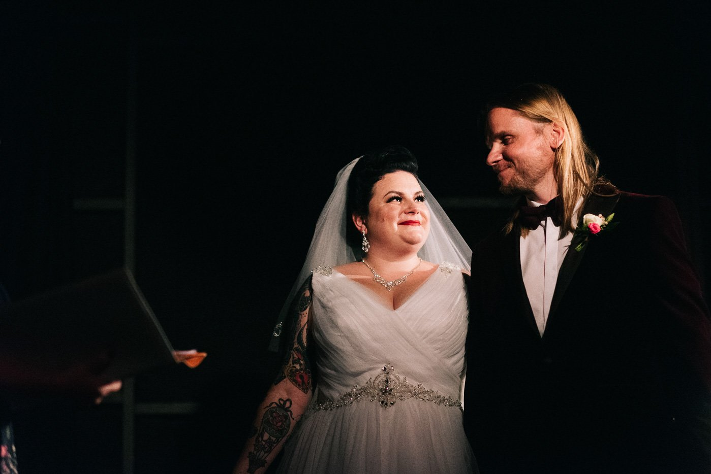 Plus sized alternative bride rock venue wedding