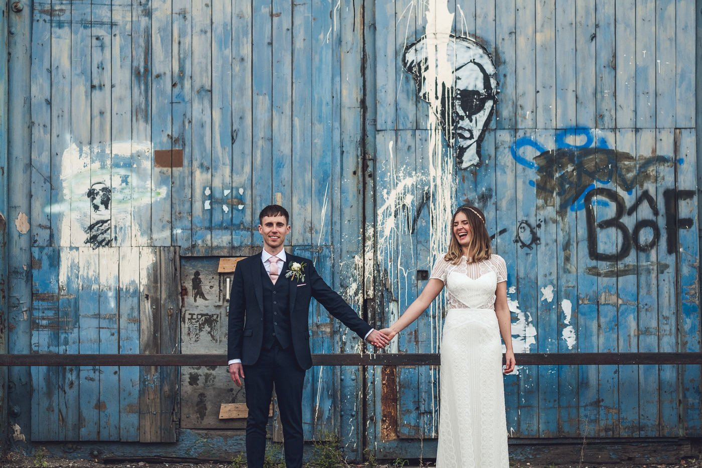 Couples portrait Hope Mill Theatre wedding photography