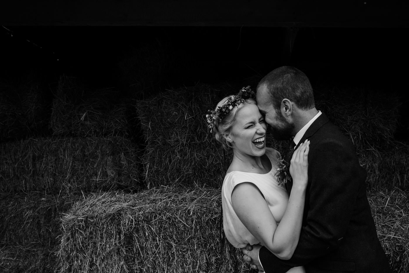 back garden wedding black and white portrait