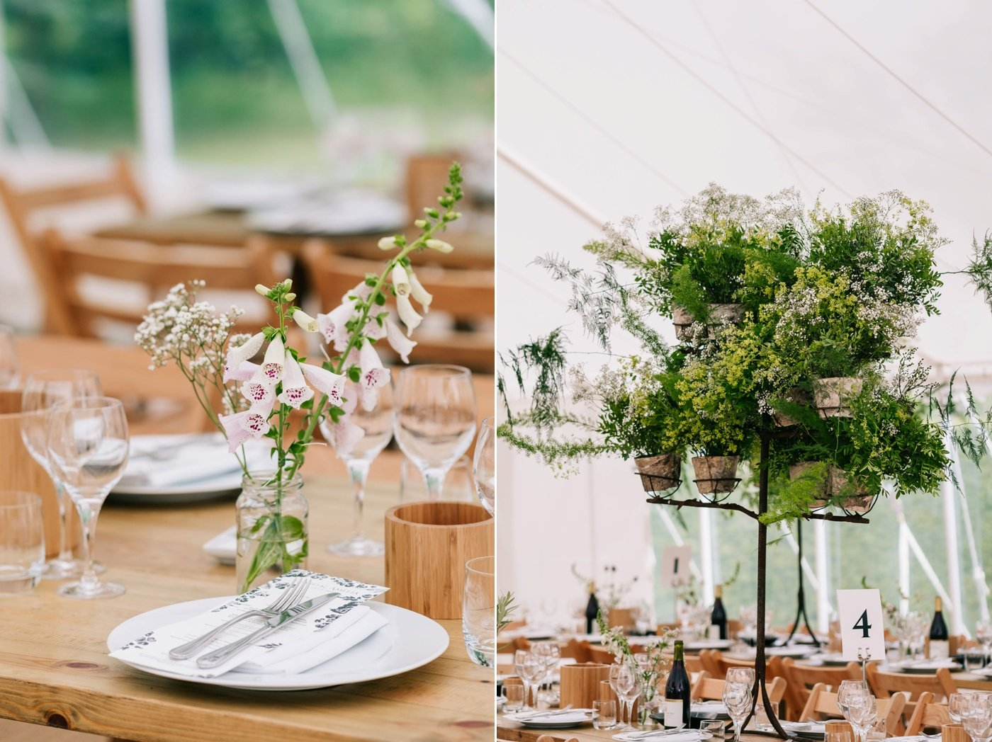 wooden tables green foliage wedding details cotswolds wedding