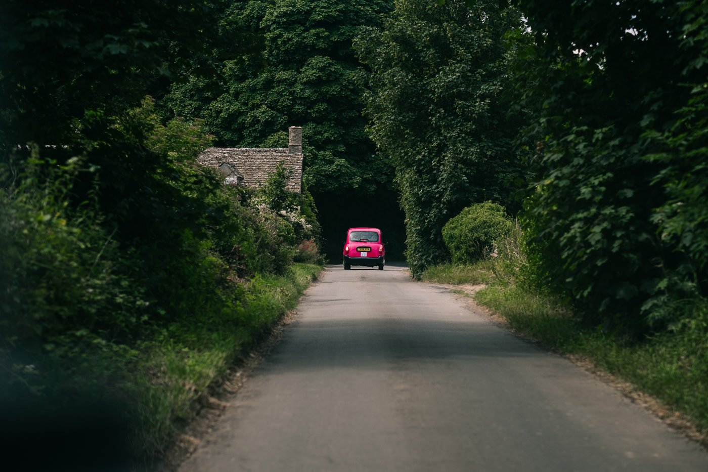 pink taxi wedding transport cotswolds