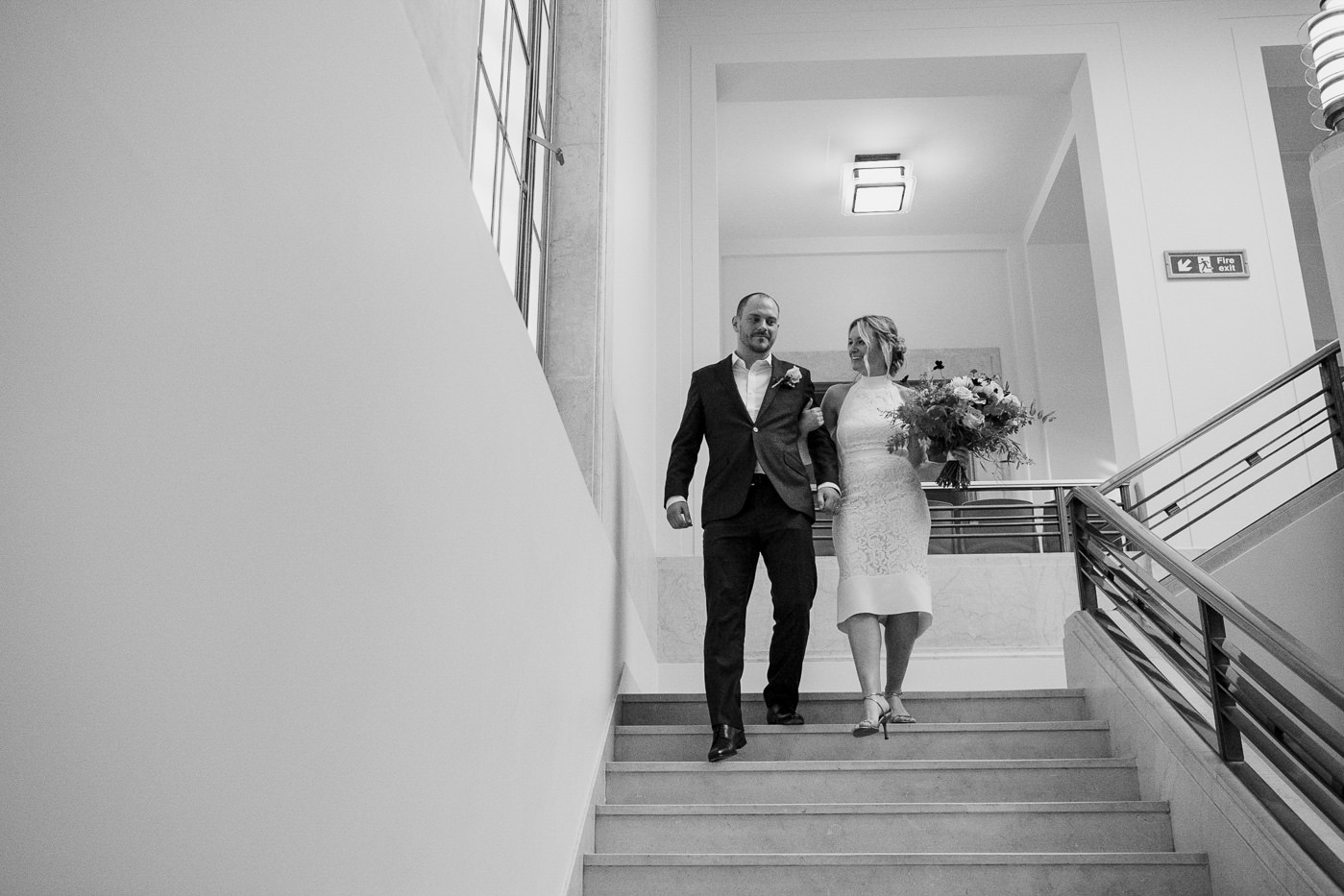 Exiting ceremony Hackney Town Hall Elopement Photography London