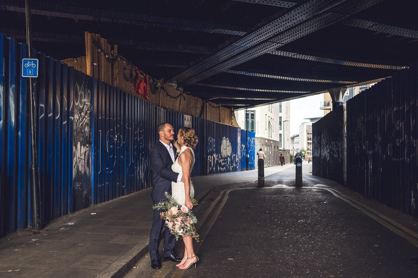Urban couple portrait Hackney Town Hall Elopement Photography London