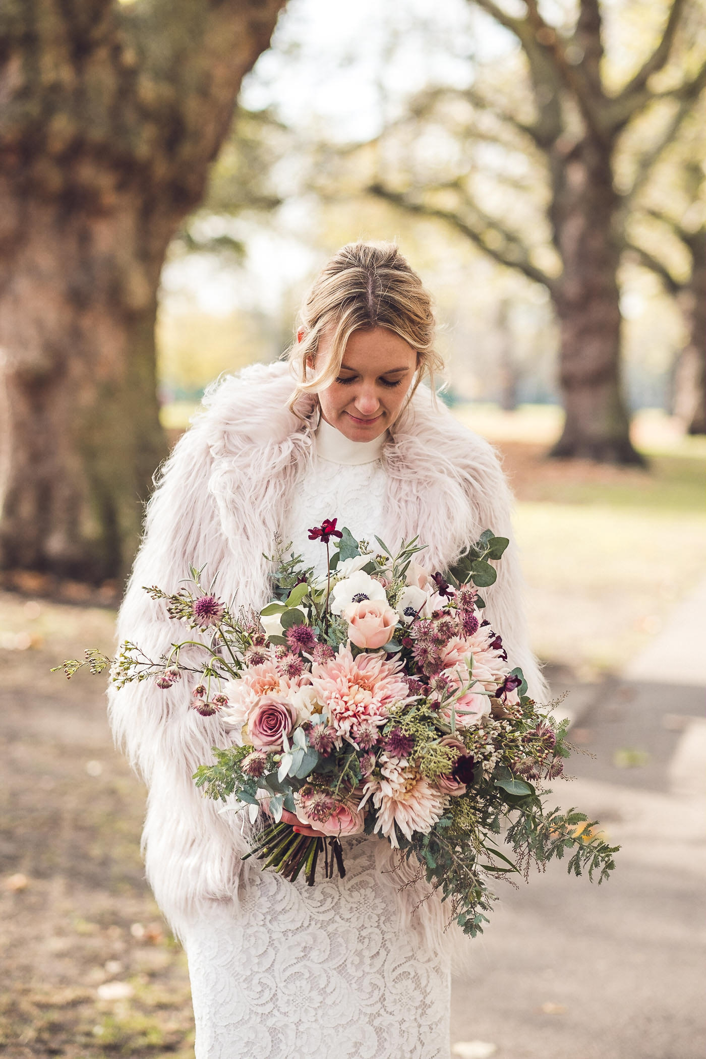 Autumn flowers Hackney Town Hall Elopement Photography London