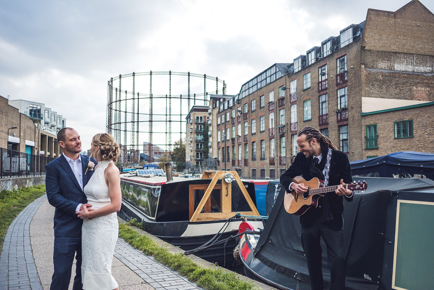 Acoustic guitar player Hackney Town Hall Elopement Photography London