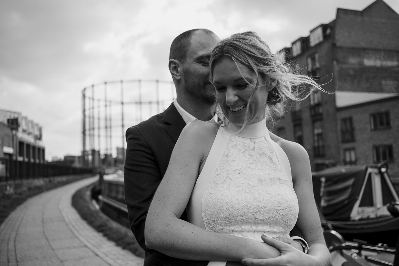 Hackney Town Hall Elopement Photography London black and white documentary portrait
