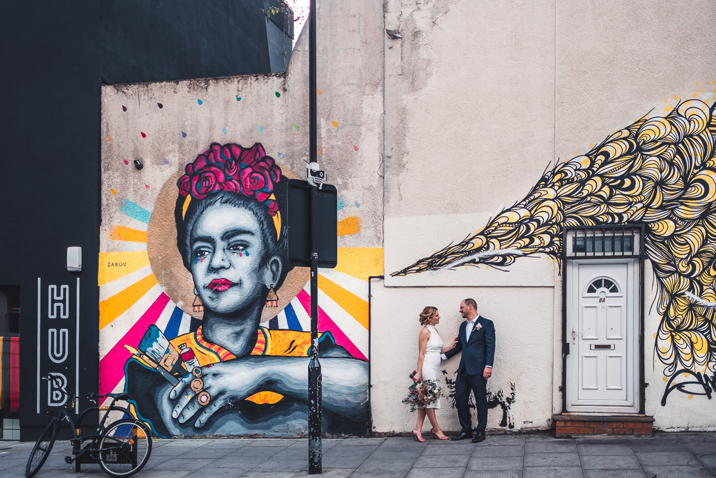 Quirky east london wedding portrait graffiti