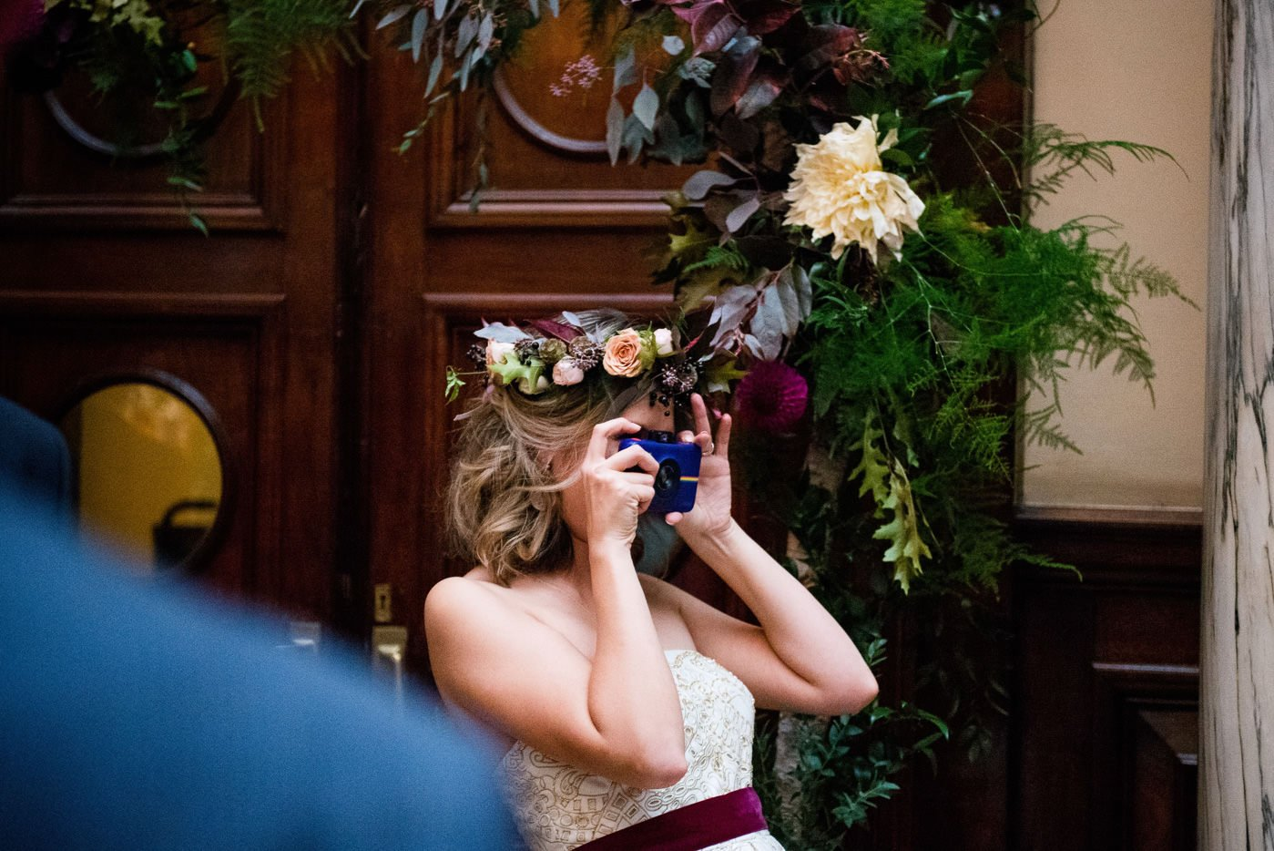 Roman Baths Wedding Photography bride with camera