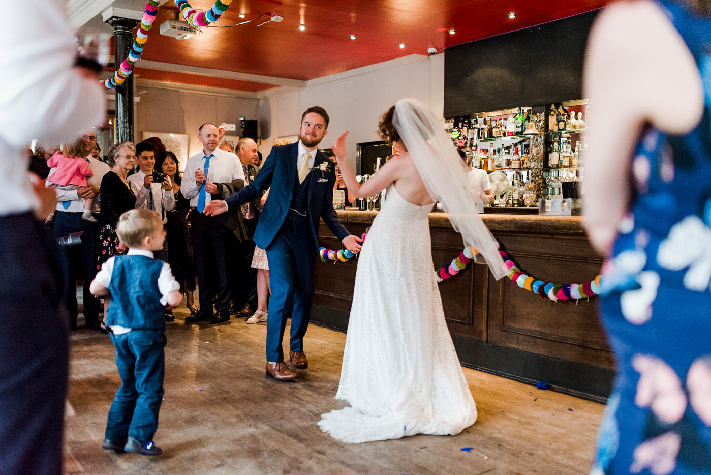 Couple dancing london pub wedding