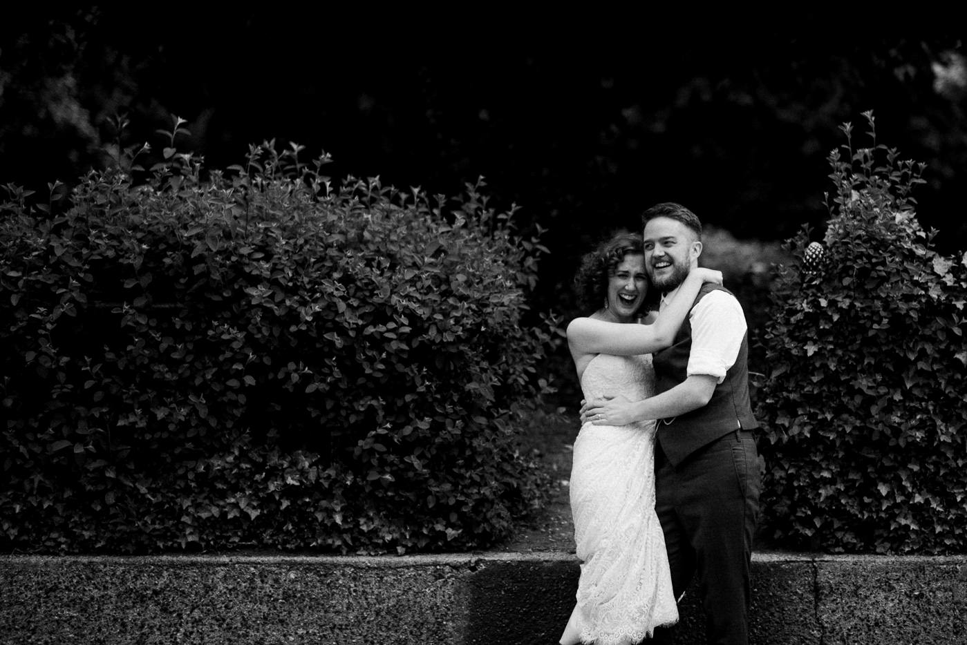 The Easton Pub wedding London wedding photographer black and white bride and groom portrait